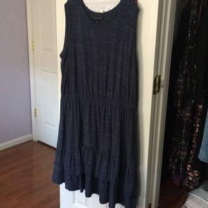 Ruffle Layered Hem Heather Navy Dress